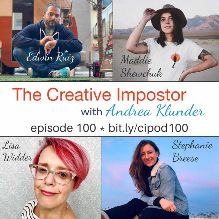 CI100:  Behind the scenes celebrations with podcast listeners and The Creative Impostor Studios